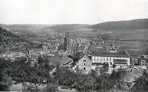 Das Foto aus dem Jahr 1875 zeigt, dass der Ortenberg – damals noch Ordenberg – kaum bebaut ist. Die Bebauung erfolgte erst ab den 20er Jahren.Bickell